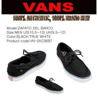 VANS SHOES zapato Del Barco BLACK ALL SIZE US(10.5~13)