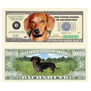 SET OF 5 BILLS DACHSHUND MILLION DOLLAR BILL Toys & Games