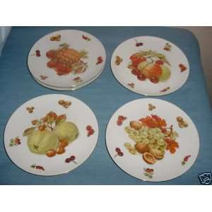 5 Western Germany Bavaria Plates with Fruit Designs