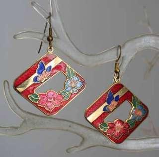Closionne Enamel Butterfly & Flower 80s Earrings