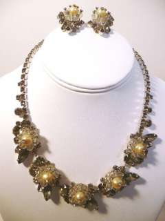 description hattie carnegie faux pearl crystal smokey grey rhinestone