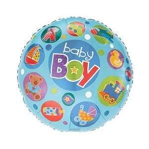 Baby Boy Blue Bear Duck Bottle Boat 18 Balloon Mylar