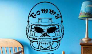 Custom Name Text Football Skull #6 Vinyl Wall Art Sticker Decal