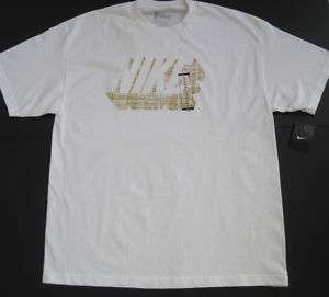 NIKE MENS WHITE/GOLD LOGO T SHIRT SIZE XL, XXL NWT