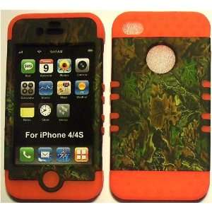 Camo Green on Orange Silicone for Apple iPhone 4 4S Hybrid
