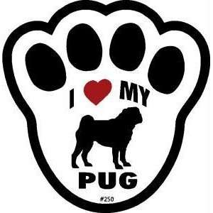 I Love My Pug Dog Pawprint Window Decal w/Suction Cup Pet