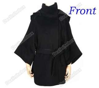 Breasted Coat Fur Collar Wool Blend Long Warm Winter Outwear BLK