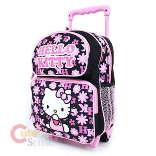 Hello Kitty School Roller Backpack Rollig Bag Black Pink Flowers 2