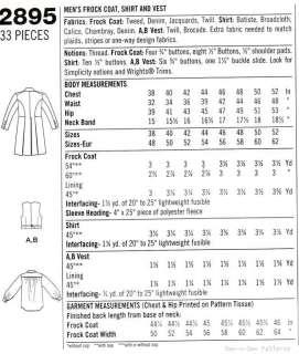 Western/Cowboy Costume Shirt Vest PATTERN Gambler Coat