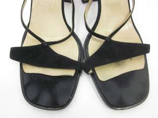 VERA WANG Black Leather Strappy Sandals Heels Size 7.5