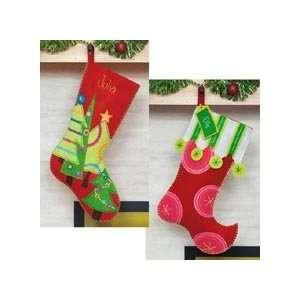 Polka Dot & Festive Tree Stockings Felt Kit Arts, Crafts & Sewing