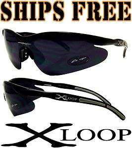 Xloop Mens Black Designer Sunglasses Sport Baseball Running X Loop New