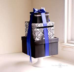 Wedding Card Box Money Holder Black Damask Navy Theme