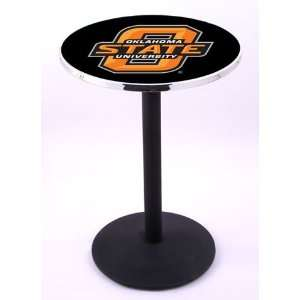 Oklahoma State University Pub Table With Chrome Edge