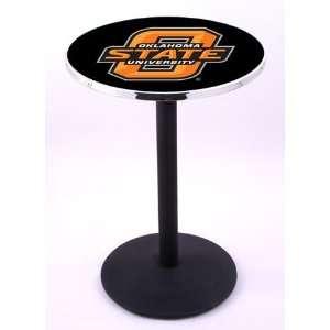 Oklahoma State University Pub Table With Chrome Edge
