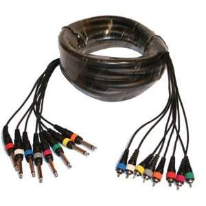 Seismic Audio   8 Channel 15 Feet 1/4 to RCA Snake Cable New