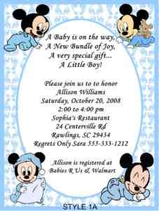 Mickey, Minnie, Daisy Duck Baby Shower Invitations