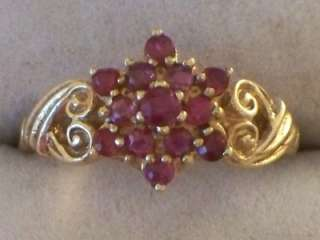 VICTORIAN STYLE 9CT GOLD RUBY CLUSTER RING