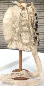 Civil War Era Sheer Bonnet Cap Ivory Net Lace Ribbon Wedding?