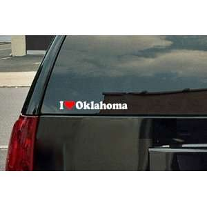 Love Oklahoma Vinyl Decal   White with a red heart