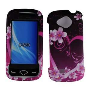 Pink with Purple Love Heart Rubber Texture Samsung U820