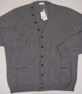 MALO SWEATER $1150 GRAY 100%CASHMERE 11 BTN V NECK CARDIGAN BOMBER LG