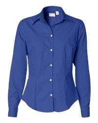 Van Heusen Ladies Silky Poplin Dress Shirt Career S 2XL Royal Blue