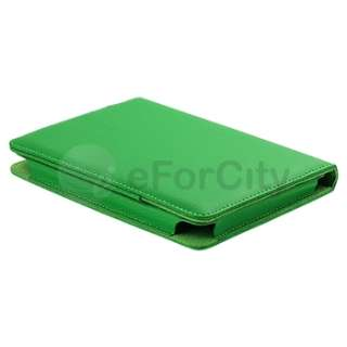 Green Leather Pouch Skin Case Cover+LED Tablet Reading Light For