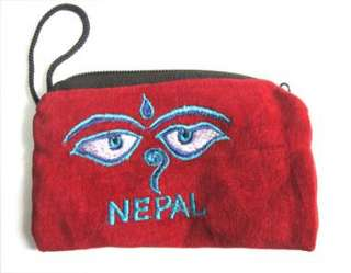 Embroidered ladies velvet Red coin purse Nepal free shipping