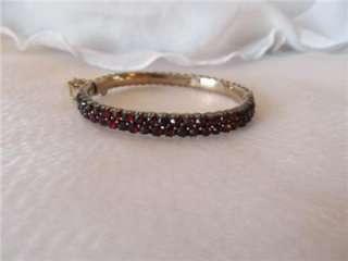 Antique Victorian Rose Cut Bohemian Garnet Bangle Oval Bracelet
