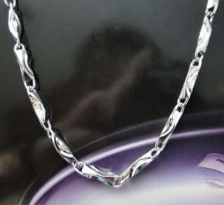 925 Sterling Silver Chain Block Link Necklace 3mm JN28