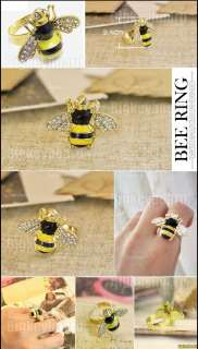 Fashion Cute Lovely Rhinestone Yellow Bee Size Adjustable Ring