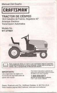 Craftsman LAWN TRACTOR SPANISH MANUAL Model 917.274821