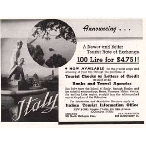Print Ad 1937 Italy Monuments Italian State Tourist Office Books