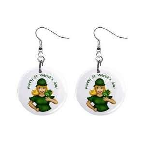 Happy St Patricks Day Irish Girl Dangle Earrings Jewelry