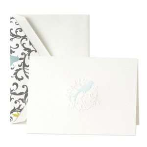 Hand Engraved Aviary Bird Scroll Notes   Stationery by