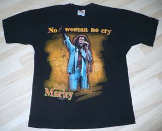 Vintage Black BOB MARLEY NO WOMAN NO CRY T SHIRT Medium