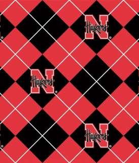 University of Nebraska Cornhuskers Argyle Print Fleece Fabric sne095s