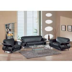 Contemporary Black Bounded Leather Living Room Set