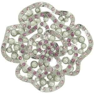 Pearl & Pink Rose Gift Brooches Fashion Jewelry Pugster