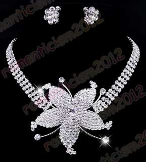 Free flower choker necklace earring set rhinestone