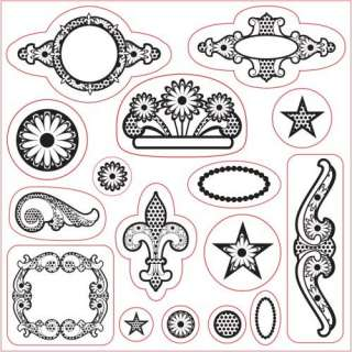 Fiskars Scrapbooking Ornaments Clear Stamps 16 Pc Set 020335012974