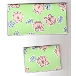 Cover Debit Set Made with Pig Pigs Oink Fabric