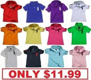 Polo Boys Girls Cotton collar Short Sleeved Toddler Baby Top T Shirt