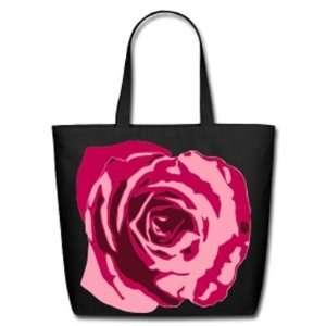 Pink Begonia on Black Tote Bag