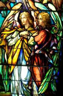 Tiffany   J.R. Lamb Angel Stained Glass Window 2 of 2