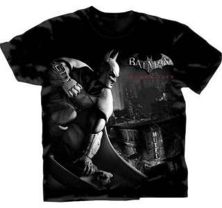 Batman Arkham City Avenge Over City Perched on Building Tee Shirt