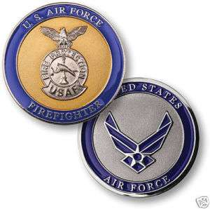 USAF AIR FORCE FIREFIGHTER FIRE BADGE CHALLENGE COIN