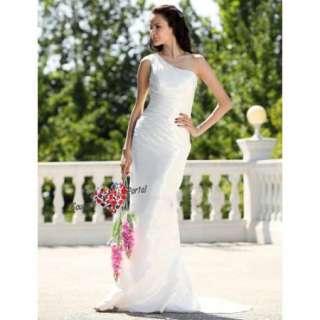 Column One Shoulder Brush Train Taffeta Wedding Dress