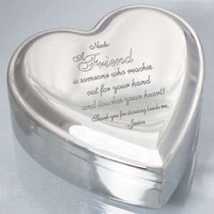 Engraved Friend Heart Jewelry Box